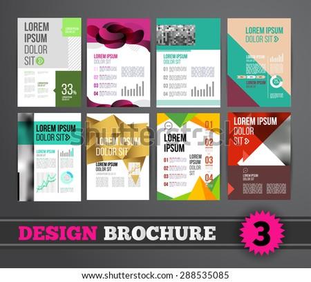 Vector design brochure template for business flyer or presentation. Trend design mega set. - stock vector