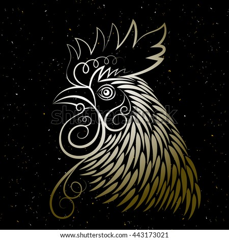 Vector design. Chinese calendar for the year of rooster. The head of the rooster.