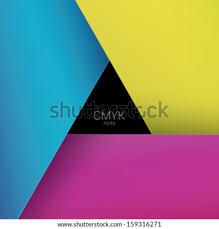 Vector design. CMYK color concept edition of a scalable eps10 format triangle framed - bordered text field with custom/adjustable paper background element for web, print, brochure or infographics - stock vector