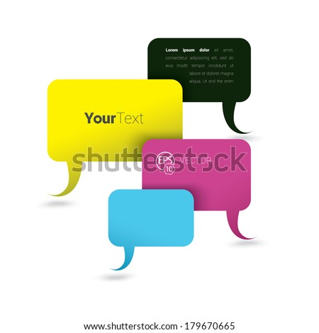 Vector design. CMYK edition of a minimal scalable abstract geometric bubble speech shape composition textbox in white space background . Layout element for web, brochure, presentation, infographics.