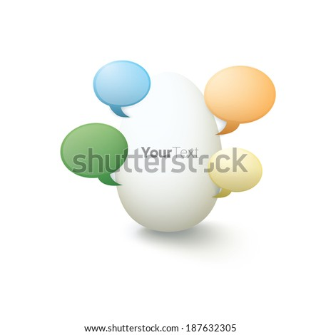 Vector design. Colorful edition of a minimal scalable abstract egg with geometric speech bubble designed elements with  artistic shadows. Eps10 graphics for web, brochure, presentation or infographic - stock vector