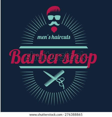 vector design concept of the logo, badge, label, on Barbershop men's hipster hairdresser - stock vector