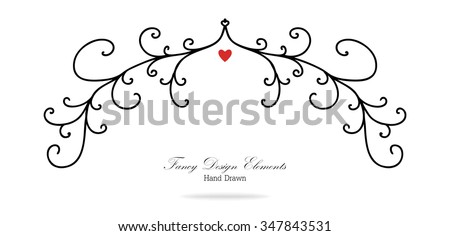 vector design element, beautiful fancy curls and swirls divider or underline design, black ink lines with small red heart. Can be placed on any color. Wedding or valentines day design element. - stock vector