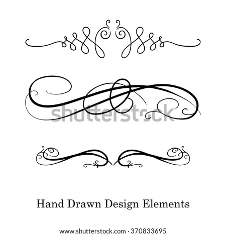 vector design element, beautiful fancy curls and swirls divider or underline design, black ink lines. Can be placed on any color. Wedding design element. - stock vector