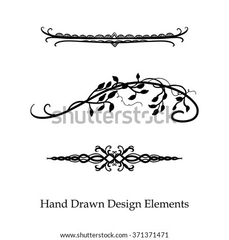 vector design element, beautiful fancy curls leaves vines and swirls divider or underline designs, black ink lines. Can be placed on any color. Wedding design element. - stock vector