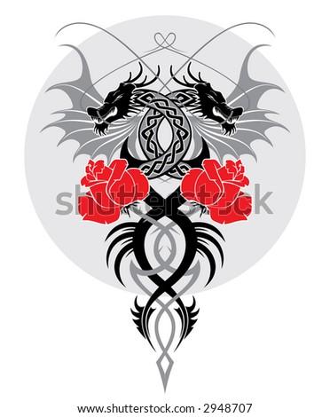 red heart flames tattoo design vector stock vector 10782958 shutterstock. Black Bedroom Furniture Sets. Home Design Ideas