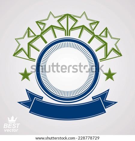 Vector design element, celebration pentagonal stars web emblem with wavy ribbon. Union and idea clear eps8 heraldic object. Corporate award. - stock vector