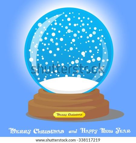 Vector design element Christmas souvenir Snow Globe on blue gradient background - stock vector