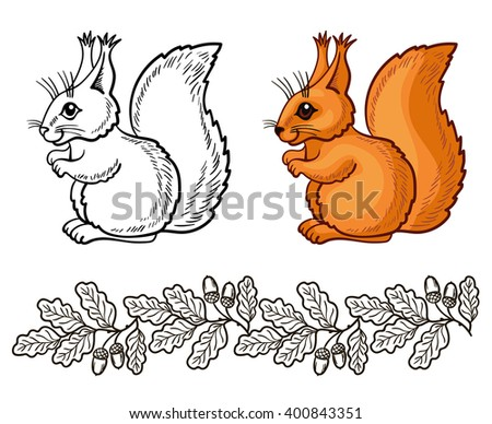 vector design element, squirrel and oak branch, foliage, path, forest, autumn, nature - stock vector