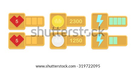 Vector design elements for casual games with life, money and power stats  - stock vector