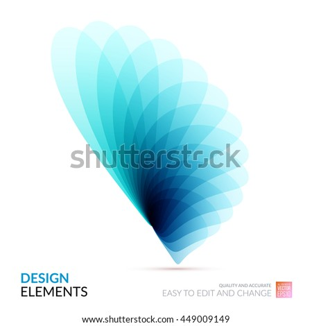 Vector Design Elements for graphic layout. Modern Abstract background template with blue soft flower shapes and wave gradient elements for business and beauty with beautiful overlap effect. - stock vector
