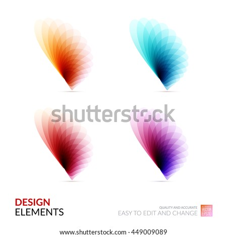 Vector Design Elements for graphic layout. Modern Abstract background template with colorful soft flower shapes and wave gradient elements for business and beauty with beautiful overlap effect. Set. - stock vector