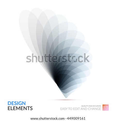 Vector Design Elements for graphic layout. Modern Abstract background template with grey soft flower shapes and wave gradient elements for business and beauty with beautiful overlap effect. - stock vector
