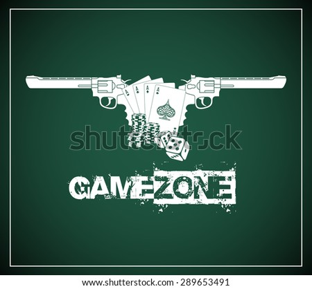 "vector design elements in vintage style logotype for the casino or poker on a green background with the company name ""Game Zone"" - stock vector"