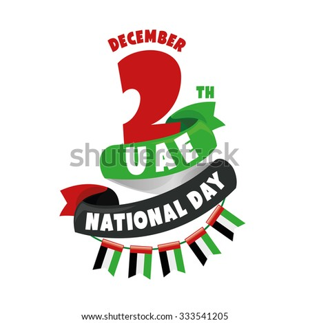 vector design elements labels badges on the theme of independence Day of the United Arab Emirates December 2nd, National Day - stock vector