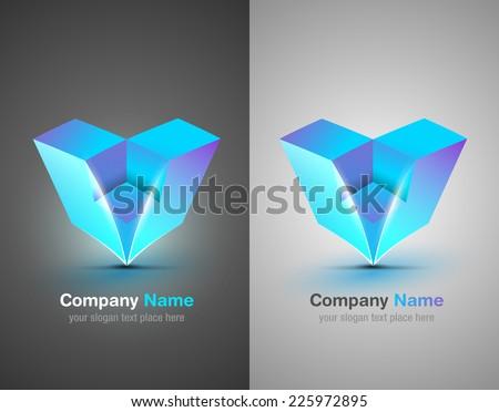 Vector design elements. Origami. Blue icon. Corporate identity. - stock vector