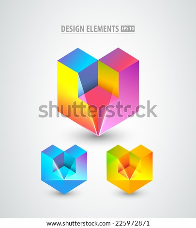 Vector design elements. Origami. Blue logo icon. Corporate identity icons. - stock vector