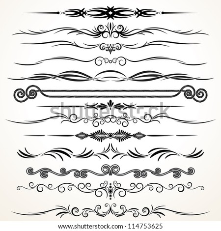 Vector Design Elements. Ornamental Lines to Embellish your Book, Invitation, Card or Menu - stock vector