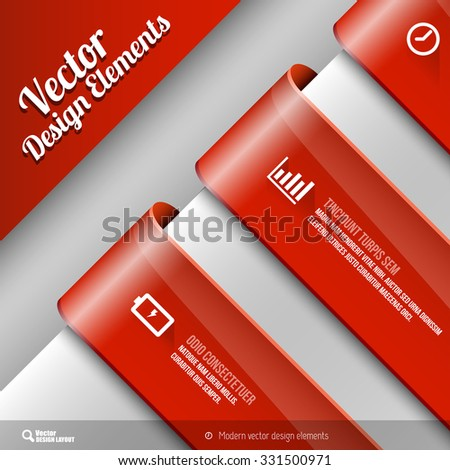 Vector design elements. Three banners on the gray sheet. - stock vector