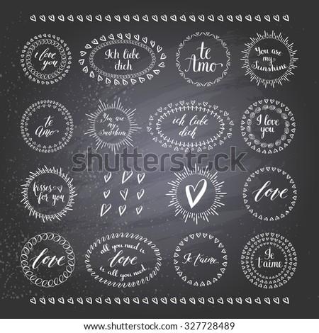Vector design elenemts. Romantic collection on blackboard. - stock vector