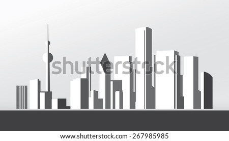 Vector Design - eps10 Building and City Illustration, Abstract City scene black style, City skyline silhouette - stock vector