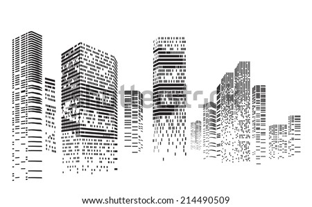Vector Design - Eps10 Building and City Illustration at night, City scene on night time, Urban cityscape  - stock vector