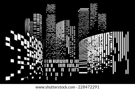 Vector Design - Eps10 Building and City Illustration at night, City scene on night time, Urban cityscape, Black background - stock vector