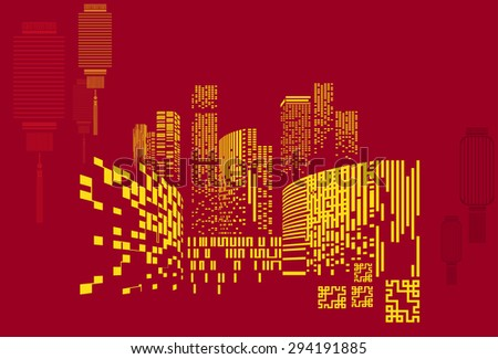 Vector Design - Eps10 Building and City Illustration at night, City scene on night time, Urban cityscape on China style - stock vector