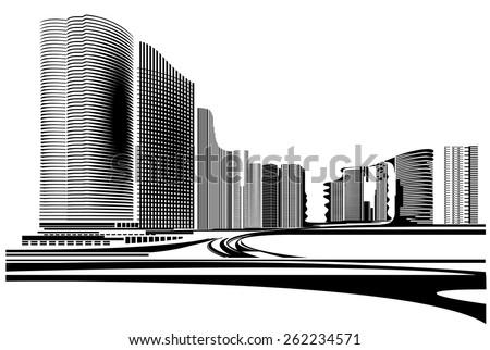 Vector Design - Eps10 Building and City Illustration, City scene, Urban cityscape - stock vector