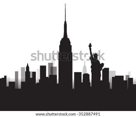 Vector Design - eps10 Building and City of New York, Urban cityscape of America, Abstract New York City Skyline, Twilight in city, Black silhouettes of New york - stock vector