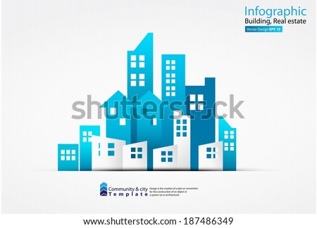 Vector Design - eps10 Building and houses Illustration, Real estate - stock vector