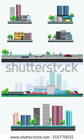 Vector Design - Eps10 City lifestyle, City Life, Urban Cityscape, Design Lifestyle in Metropolis Concept - stock vector
