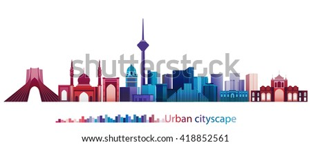 Vector Design - eps10 Colorful Building and City, Tehran cityscape, Abstract City scene of Tehran Iran, Twilight in city - stock vector