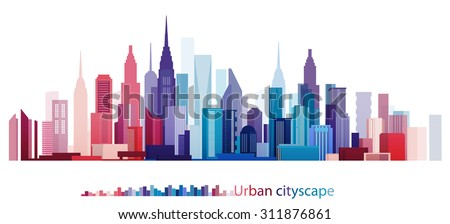 Vector Design - eps10 Colorful Building and City, Urban cityscape, Abstract City scene, Twilight in city - stock vector
