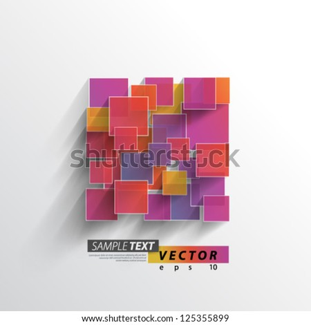 Vector Design - eps10 Colorful Overlapping Squares Concept Illustration - stock vector