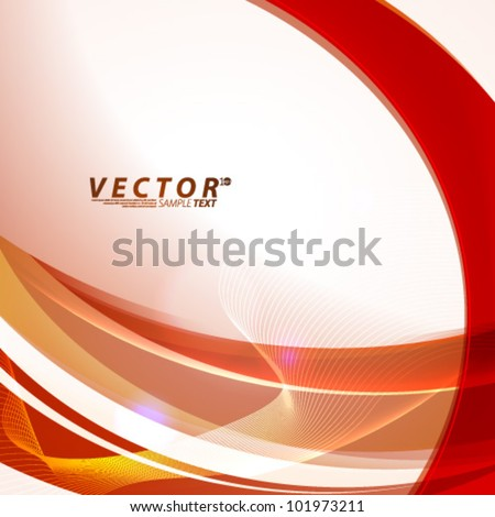 Vector Design - eps10 Smooth Wave Lines Red Concept Illustration - stock vector