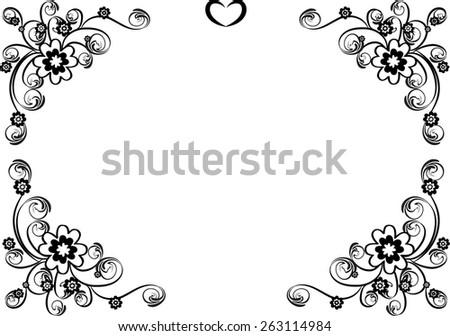 vector design flowers border black white stock vector