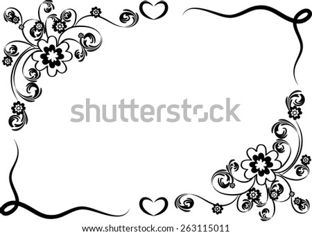 Vector design flowers border black white stock vector 263115011 vector design flowers with border in black and white mightylinksfo