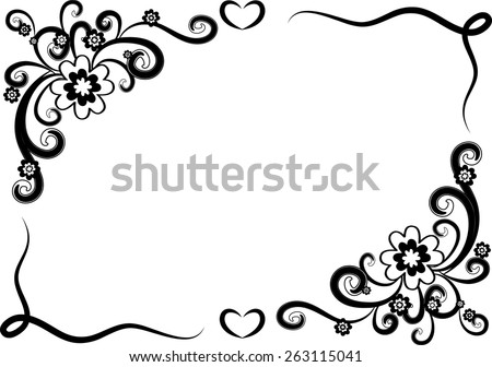 Vector Design Flowers With Border In Black And White