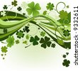 vector design for St. Patrick's Day with four and three leaf clovers - stock vector