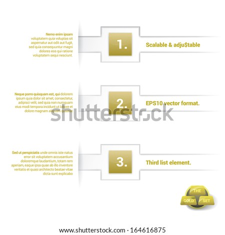 Vector design. Gold color concept composition of an abstract minimal geometric paper background based list elements with content field for numbering or letters, colorful rectangles for universal use  - stock vector