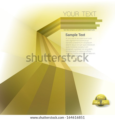 Vector design. Gold edition of a scalable abstract geometric background with trendy retro stripes and the sense of 3d with menu and text field as a layout for a brochure or web, for universal use  - stock vector
