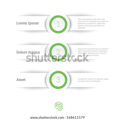 Vector design, green edition of adjustable eps10 composition an abstract minimal geometric paper background based list elements with menu field for numbering  for web, print, brochure or infographics - stock vector