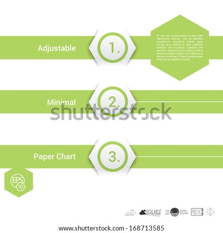 Vector design, green hexagon edition of an adjustable composition of  an abstract geometric paper background based list, content and menu field for numbering or for web, print, brochure, infographics - stock vector