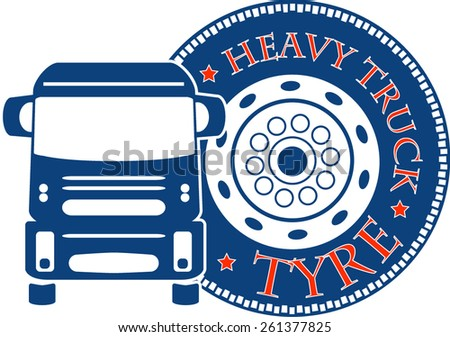 vector design heavy truck automobile service for trade or tire business - stock vector