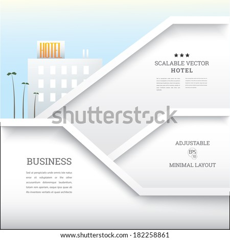 Vector design. Hotel  business template with palm trees people in the background,  for infographics, text box composition, web site flat layout or minimal theme for architectural print flyer - stock vector