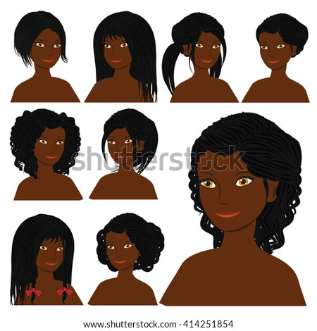 Vector Design Icon Set Beautiful African Stock Vector 414251854 Shutterstock