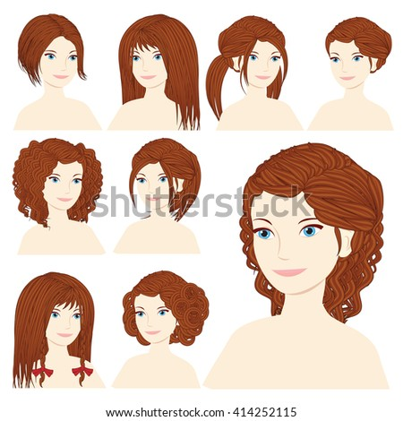 Vector design icon set. Beautiful brown-haired woman with different types of hairstyle, hairdo, haircut. Curly, long, caret, braids, bun, chignon, pigtails hair. Flat Fashion illustration  