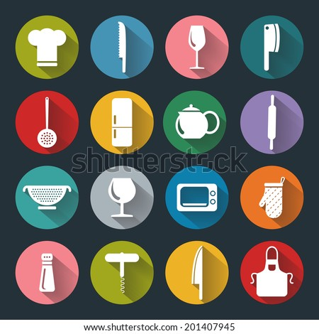 Vector design kitchen flat icons for web, white on colored basis with long shadow - stock vector