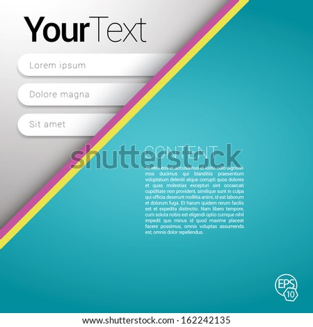 Vector design. Light blue - turquoise  top corner edition of a scalable futuristic minimal  software 3d layout with navigation menu for printing, for web, or for mobile application & for universal use - stock vector